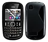 Cellmax Nokia Asha 201 Gel Back Protection Case Cover Skin Pouch With S Line Pattern - Black