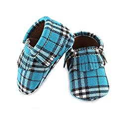 Baby Moccasins Soft Soled Multi Color/Design First Steps Shoes (2 (6/12 Months), Blue Plaid)