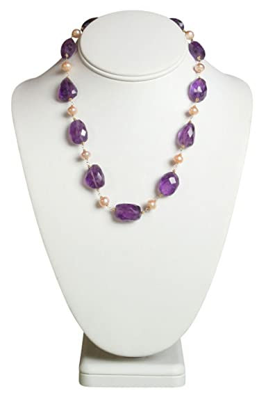 Faceted Amethyst Nugget, Freshwater Pearl Pink with 14k Gold Necklace 18 Inch