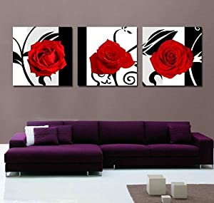 Xm art canvas print 3 panels black white red for Black and white rose wall mural