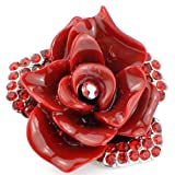 Ruby Rose Austrian Crystal Red Flower Pin Brooch