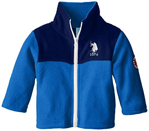 U.S. Polo Assn. Baby Boys' Mock Neck Polar Fleece Jacket, Blue/Navy, 18 Months