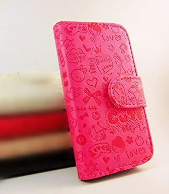 Cute lovely Little Witch Flip Pouch Cover PU Leather Skin Case Cover for Samsung Galaxy ace plus GT-S7500 rose