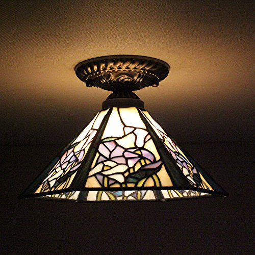 8-inch Vintage Pastoral Stained Glass Tiffany Purple Flower Ceiling Light Living Room Chandelier Hallway Chandelier