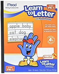 Mead Learn to Letter with Raised Ruling Writing Tablet, 40 Sheets of 8 X 10-inch, White (MEA48170-SN)