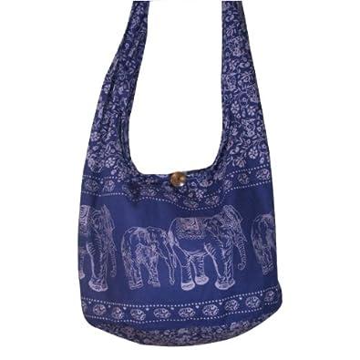 Hippie Elephant Sling Crossbody Bag Shoulder Bag Purse Thai Top Zip