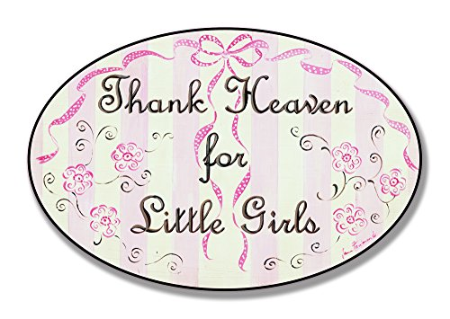 The Kids Room by Stupell Thank Heaven for Little Girls Flowers and Ribbons Oval Wall Plaque