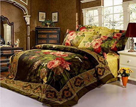 New Oil Painting pc Bedding Set King Queen Size d Duvet quilt Cover Luxury Bed Linen
