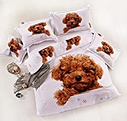 MeMoreCool Home Textile 3D Effect Kids Students Environmental Reactive Printing 100% Cotton 4 Piece Bedding Set Cute Teddy Lovely Dogs Design Duvet Covers Soft Flounce Bed Sheets Full Size