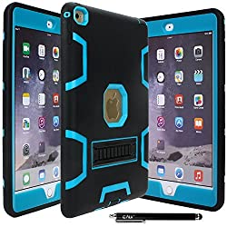 IPAD AIR 2 CASE, E LV iPad Air 2 Case Cover, Hybrid Dual Layer Armor Defender Protective Case Cover with 1 Black Stylus for iPad Air 2 - BLACK / TURQUOISE