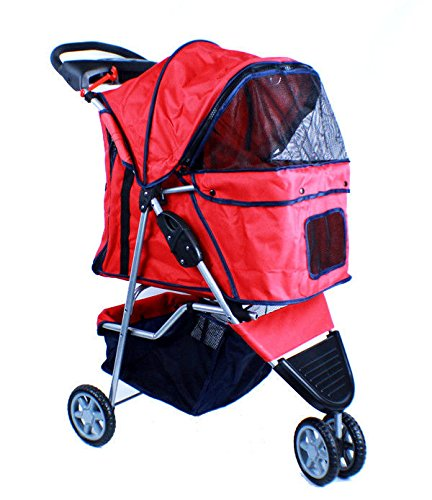 New Deluxe Folding 3 Wheel Pet Dog Cat Stroller Carrier W Cup Holder Tray -Red front-877013