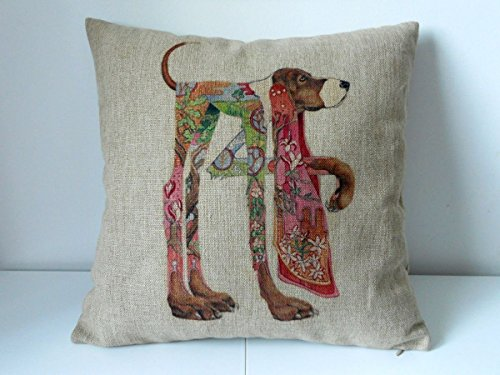 Cotton Linen Square Decorative Throw Pillow Case Cushion Cover Colour Painting Dog 18 X18