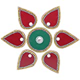 Shree Home Decore Wooden Rangoli (30 Cm X 17 Cm X 02 Cm, Magenta & Green)