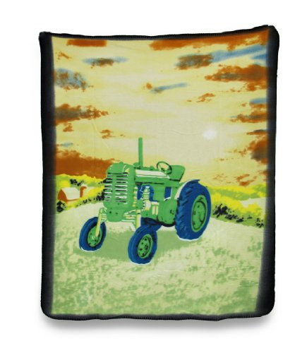 Soft Green Country Farm Tractor Fleece Throw Blanket 60 X 50 In.