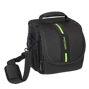 PEDEA Tasche für Sony SLT-A58K, A58Y, A37K / Panasonic Lumix DMC-FZ1000 / Nikon Coolpix P900 / Canon EOS 1100D (Platz für Body und Objektiv, mit Tragegurt und Zubehörfach) mit Displayschutzfolie