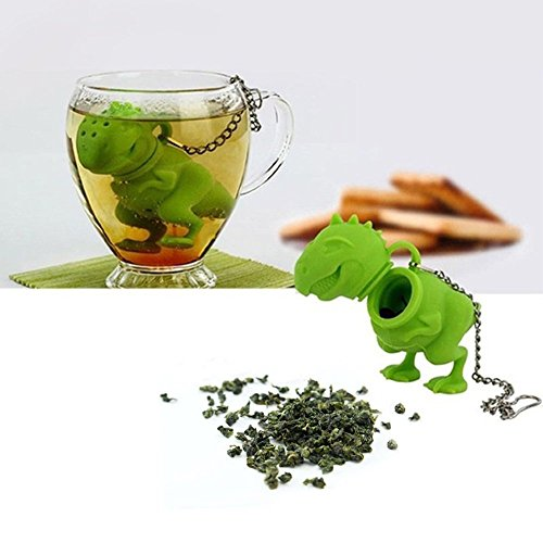 gangnumsky-Unique Cute Tea Strainer, Interesting Life Partner Cute T-Rek Dinosaur Mr Teapot Silicone Tea Infuser Filter Teapot for Tea & Coffee Drinkware (Cordless Teapot Lamp compare prices)