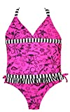 Little Girls Swimsuit Hot Pink Print Tankini with Stripe Trim