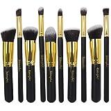 Makeup Acc Professional 10 Pcs Gold Pro Foundation Blush Kabuki Flat Liquid Brush Kabuki Synthetic Makeup Brush Set Cosmetics Tool