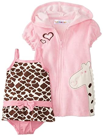 Amazon.com: Wippette Baby-Girls Newborn Giraffe Swim Cover-up Set