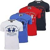 Mens Designer round Neck Short Sleeve T shirt - SANTA MONICA POLO white,Navy,Blue,Red- Medium, Large (Large, Dark Navy)