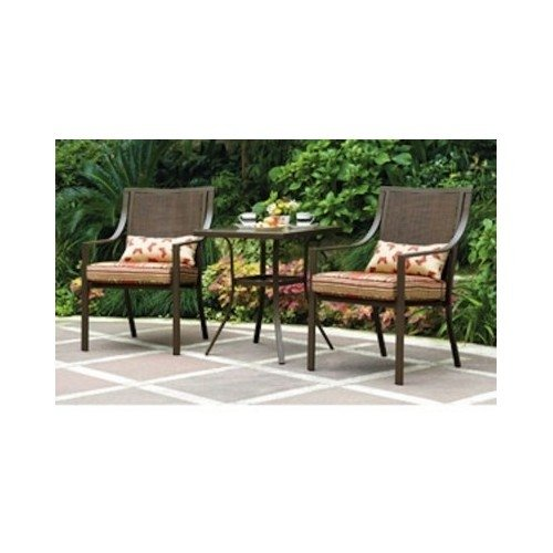 Alexandra Square 3-Piece Outdoor Bistro Set Red Stripe with Butterflies Seats 2 Outdoors Relax Grill sun poarch picture