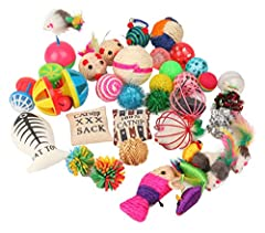 Toys might be different from the picture  Contains Assorted 20 toys.  Mouse,Balls,bell,atnip,Mylar Balls,feathers,Teaser-Cat and more.