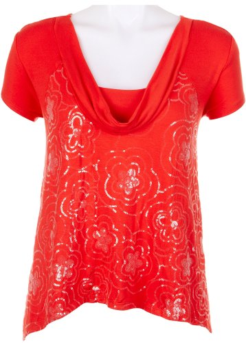 51z5bcUhixL   Skyes The Limit Impulsive Drape Neck Sequin Top CAYENNE Large Promo Offer