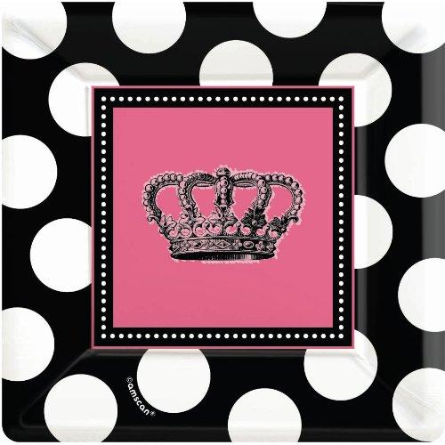 "Amscan Rocker Princess Birthday Party Dessert Plate (8 Piece), Black/Pink, 7 x 7"""