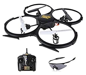 Holy Stone U818A HD+ RC Quadcopter Drone with 720P HD Camera, Return Home Function, Headless Mode and Low Battery Warning 2.4GHz 4 CH 6 Axis Gyro RTF Includes Bonus Battery and Goggles