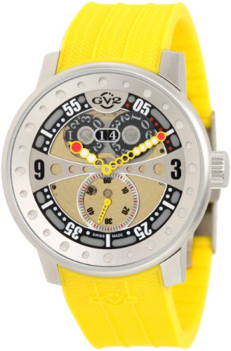 GV2 by Gevril Men's 4040R2 Powerball Yellow Rubber Sub-Second Big Date Watch