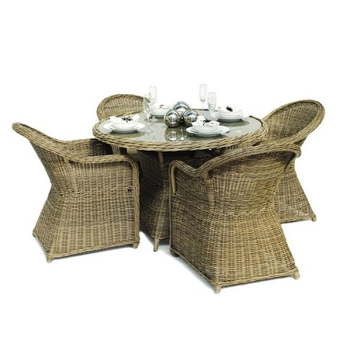 Memphis Rattan Gartenmöbel, Für 4 Personen, Runder Sessel Full Set