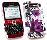 FLASH SUPERSTORE NOKIA E63 PURPLE BLOOM CLIP ON PROTECTION CASE/COVER/SKIN