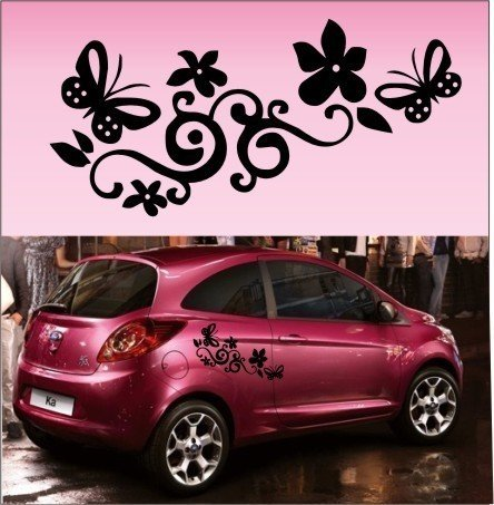 2x Butterfly Flower Vinyl Car Graphics,Stickers,Decals each sticker 46cm (w) x 23cm(h), Please state colour on purchase otherwise black will be sent