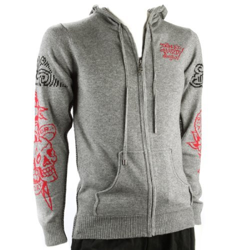Ed Hardy Mens Tiger And Death Or Glory Long Sleeve Hoodie - Grey - X-Large