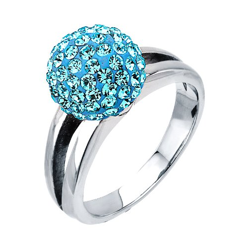 Size 6 -Inox Jewelry Women's Stainless Steel Silver Plated Light Blue Ferido Ball Ring