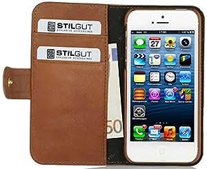 """Stilgut Ledertasche """"Talis"""" Book Type Case für Apple iPhone 5 & iPhone 5s aus echtem Leder mit Fach für Kredit- oder Visitenkarten, Cognac vintage"""
