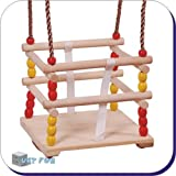 Wooden Safety-Seat Garden Swing for Small Children