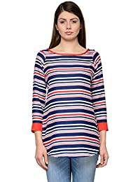 Blue Red Stripes Crepe Top
