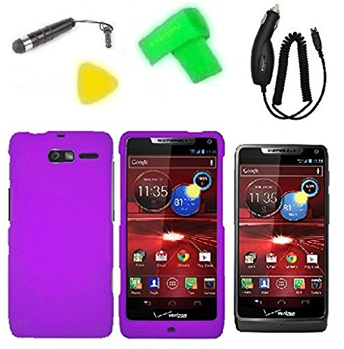 Phone Cover Case Cell Phone Accessory + Car Charger + Extreme Band + Stylus Pen + Lcd Screen Protector + Yellow Pry Tool For Verizon Motorola Moto Luge 4G Lte (Car Charger + Purple)