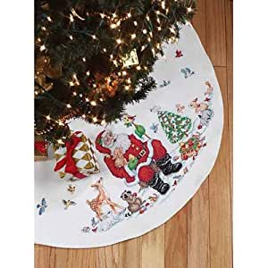 Santa and Animals Tree Skirt Christmas Cross Stitch