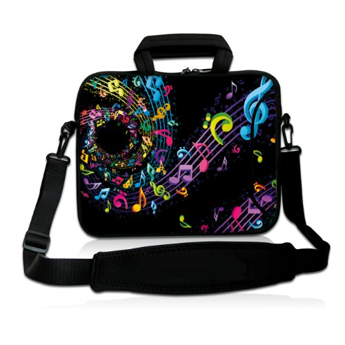 "17"" 17.3"" 17.4"" Inch Neoprene Notebook Laptop Soft Sleeve Bag Case With Extra Side Pocket Pouch, Soft Carrying Handle & Removable Shoulder Strap For Apple Lenovo Dell Samsung Toshiba Acer Asus Hp Ibm Msi Laptop Pc Notebook - Rainbow Music Note Design front-498983"