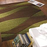 Brown & Green Rug Orleans Organza Style Modern Design in 100% Polypropylene Pile 120cm x 170cm