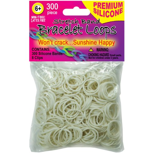 Pepperell 300 Silicone Band Loops with 8 Clips, White