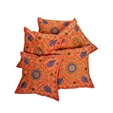 Rajrang Home Decorative Embroidered Cotton Cushion Cover Set Of 5 Pcs
