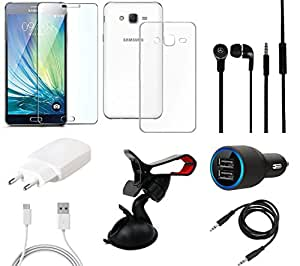 NIROSHA Tempered Glass Screen Guard Cover Case Charger Headphone Mobile Holder for Samsung Galaxy ON5 - Combo
