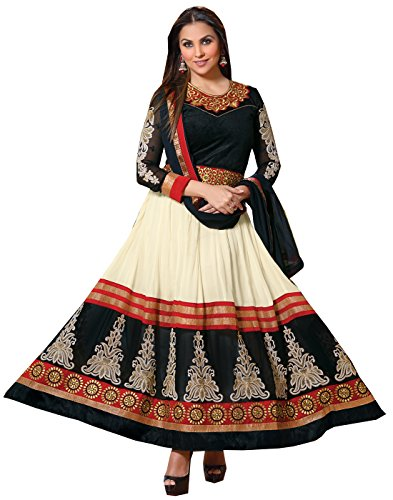 Craze N Demand Women Georgette White Anarkali Semi Stitched Dress Material