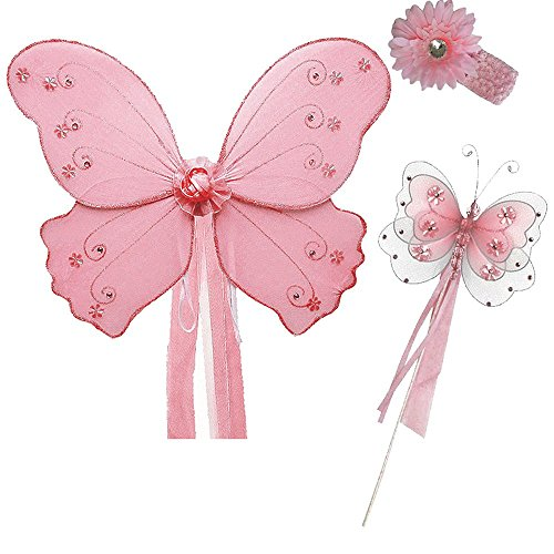 [Butterfly Fairy Princess Wings, Wand, Hair Band Set - One Size (Pink)] (Halloween Costumes With Pink Hair)