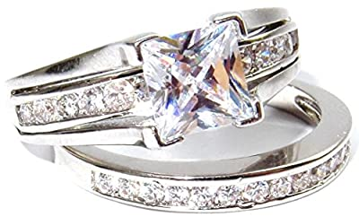 NEW IMPROVED! Never Tarnish Stamped 316 Princess Cut 6mm Finest Lab Diamonds Ring and Half Eternity Channel Set Band. Outstanding Quality Engagement Wedding Set. Stainless Steel.
