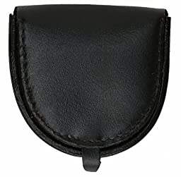 Black Genuine Leather Horseshoe Coin Change Pocket Hard Holder Purse NEW