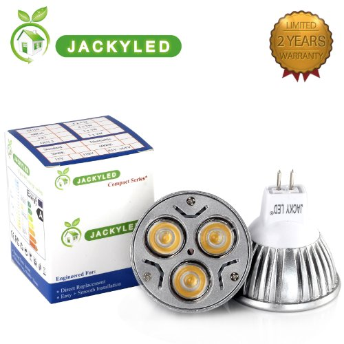 JACKYLED® 4-Pack 100% Original Super Bright Epistar Chips LED Dimmable MR16 6W Lamps Warm White Rotundity LED Mr16 12V Flood 60 Degrees .The Bulbs Can Work with AC 12v; DC 12v If You Want to Have Dimm